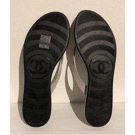 Chanel-tong bicolore noir et beige-Noir,Beige