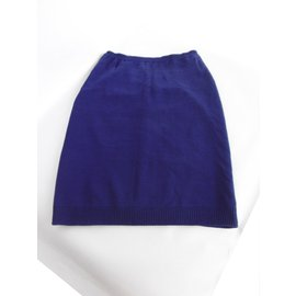 Céline-Cotton Skirt-Navy blue
