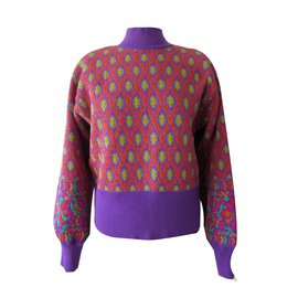 Yves Saint Laurent-Pull-Multicolore,Violet