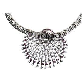 inconnue-ras de cou diamants-Argenté