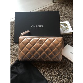 Chanel-Purses, wallets, cases-Pink,Golden