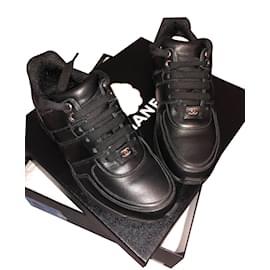 Chanel-Baskets Cuir Noir & Tweed-Noir