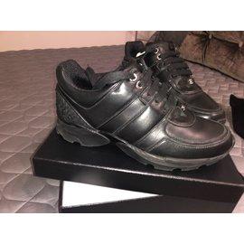 ... Chanel-Baskets Cuir Noir   Tweed-Noir baeca92b9b4