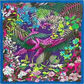 Hermès-Cachecol de seda-Multicor