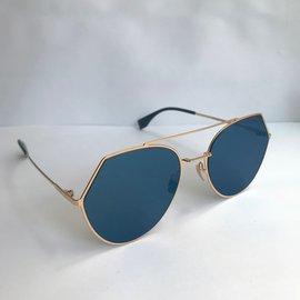 Fendi-Lunettes de soleil-Bleu,Doré
