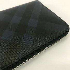 Burberry-Portefeuille zippé à motif London check-Noir,Bleu