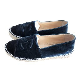 Chanel-CHANEL Velvet navy blue espadrilles shoes EU37-Blue