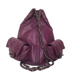 Chanel-CHANEL PURPLE Calfskin LARGE BACKPACK IS BACK BAG-Purple
