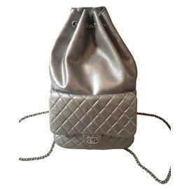 Chanel-Sacs à dos-Argenté