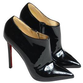 Christian Louboutin-Boots en cuir verni-Noir