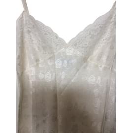 Christian Dior-chemise de nuit fines bretelles-Blanc cassé