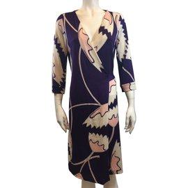 Diane Von Furstenberg-Dress-Pink,White,Purple