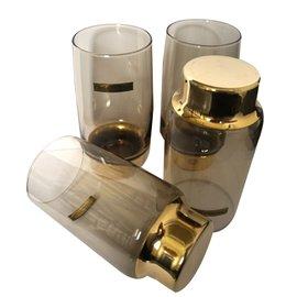 Dior-Set of 4 Glasses-Brown,Golden