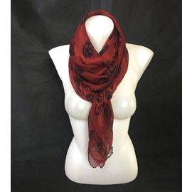 Alexander Mcqueen-foulard Skull-Noir,Rouge