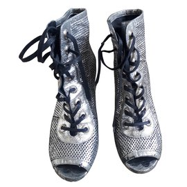 Chanel-boots-Silvery