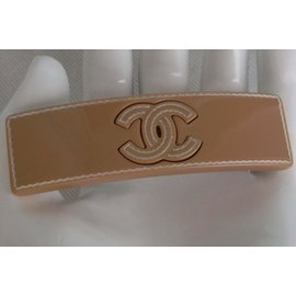 Chanel-LOGO BARRETTE-Caramel
