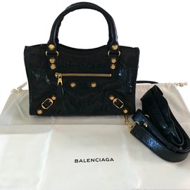 Balenciaga-mini city gold-Noir