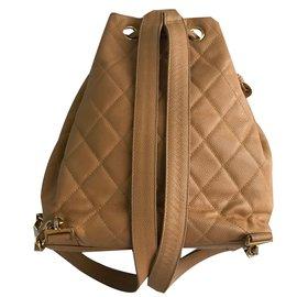 Chanel-Vintage backpack-Beige