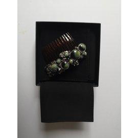 Chanel-Bijoux for hair-Marron,Argenté,Vert