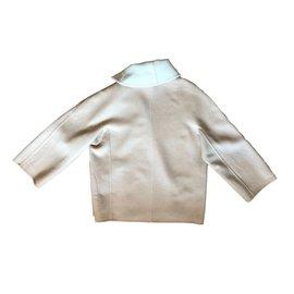 Hermès-Manteau réversible-Blanc,Beige