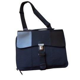 6ac34ed2494a Céline-Sacoche tissu enduit noir-Noir ...