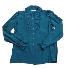 Yves Saint Laurent-Chemise en soie-Bleu