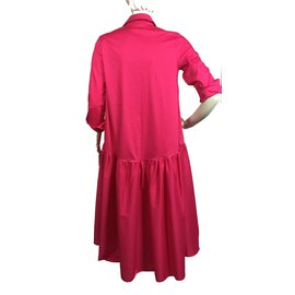 Impérial-Oversized hot pink midi dress-Pink