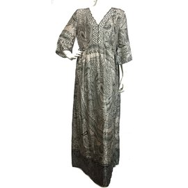 Twin Set-Maxi dress-Black,White