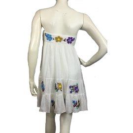Tibi-Embroidered silk blend dress-White