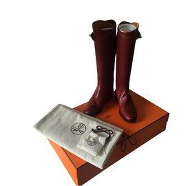 Hermès-Riding boots-Dark red