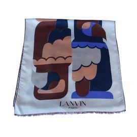 Lanvin-Foulards-Beige,Bleu Marine