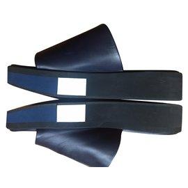Robert Clergerie-mules compensées-Bleu Marine