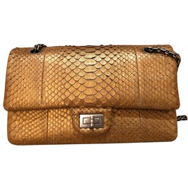 Chanel-Gold Python Leather 2.55 Reissue lined Flap-Golden
