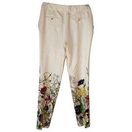 Gucci-silk trousers-Crème
