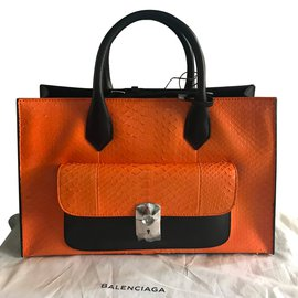Balenciaga-Padlock WORK-Noir,Orange