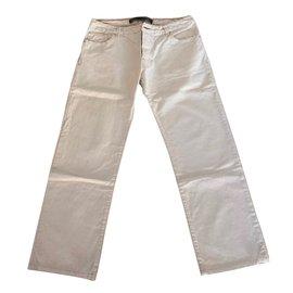 Autre Marque-Jean's droit 100% coton brut écru-blanc cassé