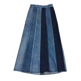Yves Saint Laurent-Jupe midi-Bleu
