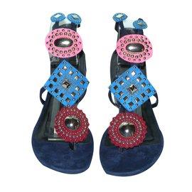 Hermès-Sandales Pandore-Argenté,Rose,Bleu,Bordeaux,Bleu Marine