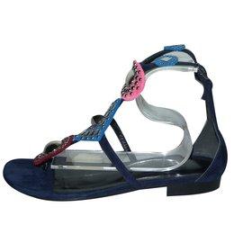 Hermès-Pandore Sandals-Silvery,Pink,Blue,Dark red,Navy blue