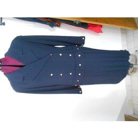 Chanel-robe style année 20 laine et soie-Bleu Marine