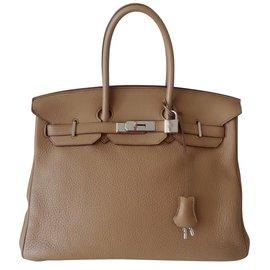 Hermès-SAC HERMES BIRKIN 35 TABAC-Beige ... 10d6d674bc2