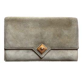 Hermès-Hermès - Pochette enveloppe Ficelle Doblis Suede Pointed Flap Clutch-Beige,Doré