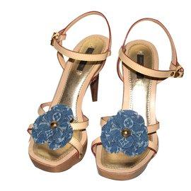 Louis Vuitton-Sandales-Bleu,Beige
