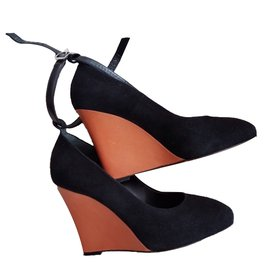 Céline-Wedge mules-Black