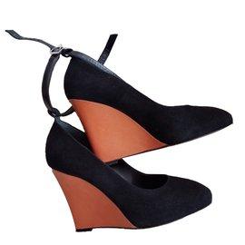 Céline-Mules compensées-Noir