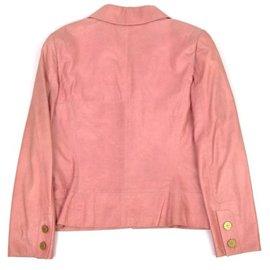 Chanel-Chanel  Goatskin Camellia Leather Jacket-Pink