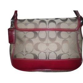 Coach-Handbag-Red,Beige