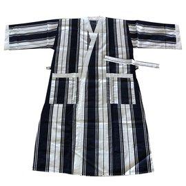 Autre Marque-Kimono peignoir Olivier Desforges-Blanc,Bleu Marine