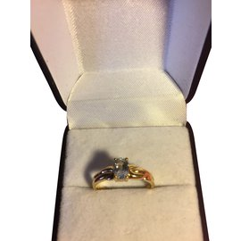 Vintage-Yellow gold ring-Blue