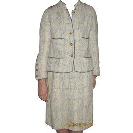 Chanel-Skirt suit-Blue,Cream